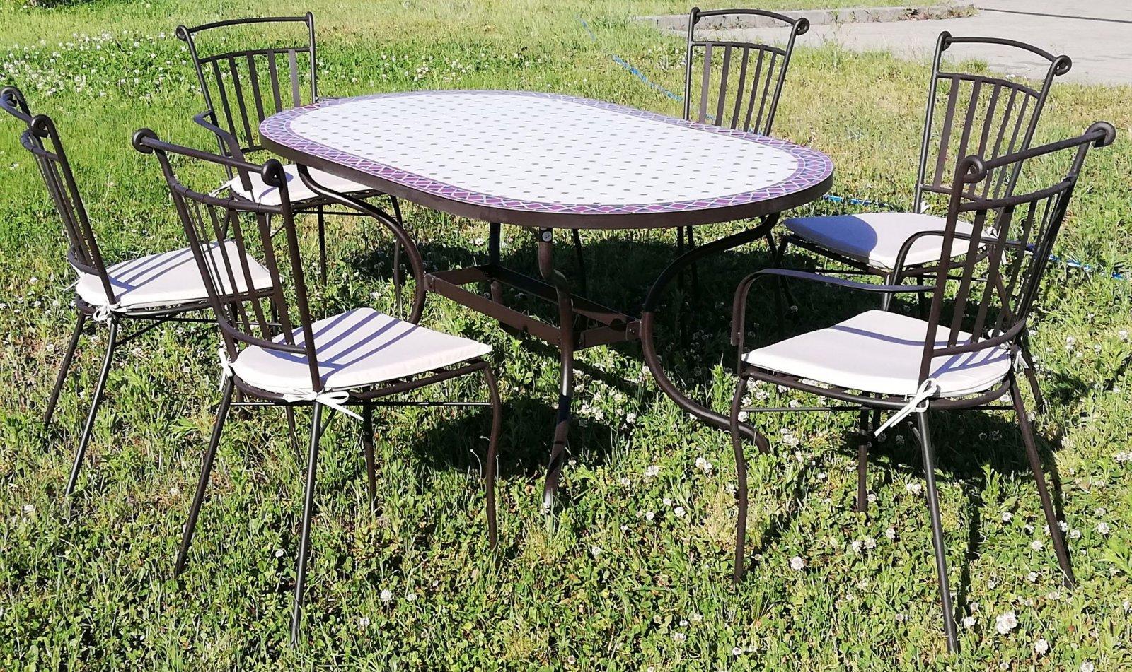 Fém kerti bútor garnitúra mozaiklapos asztal 1