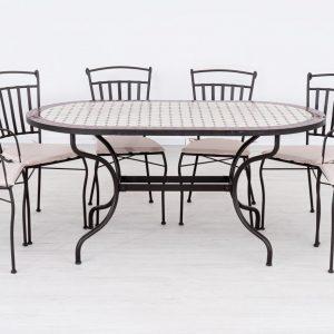 Fém kerti bútor mozaiklapos asztallal